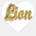 León - texto peludo pegatina de corazón personalizadas