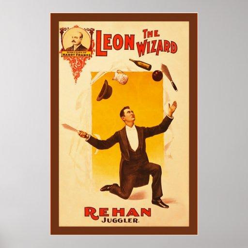 Leon The Wizard ~ Vintage Theatre Poster