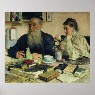 León Tolstói con su esposa en Yasnaya Polyana Póster
