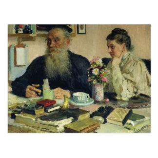 León Tolstói con su esposa en Yasnaya Polyana Postal