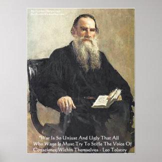 "León Tolstói ""guerra es"" poster injusto de la cita"