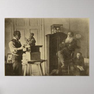 León Tolstói y el príncipe Pablo del escultor Póster
