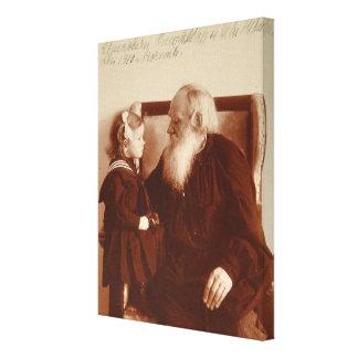 León Tolstoy con su nieta, Tatiana Impresión En Lienzo