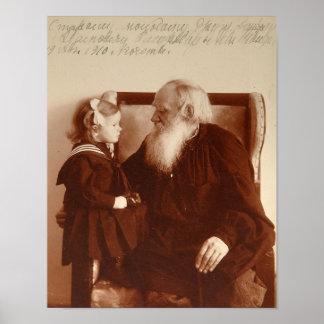 León Tolstoy con su nieta, Tatiana Póster