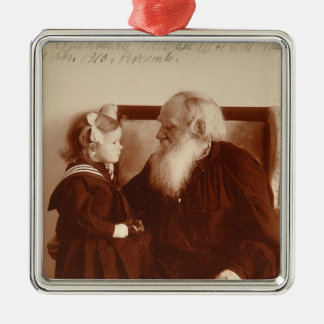 Leon Tolstoy with his granddaughter, Tatiana Square Metal Christmas Ornament