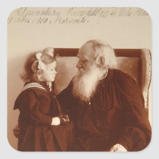 Leon Tolstoy with his granddaughter, Tatiana Square Sticker
