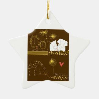 León, tortuga, cocodrilo y jirafa minimalistas adorno navideño de cerámica en forma de estrella