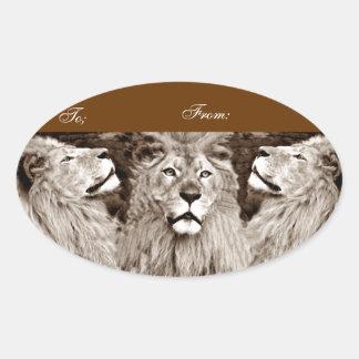 León, valor, Power&Strength_ Pegatinas Ovaladas Personalizadas