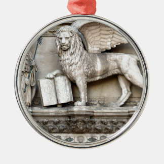 León veneciano adorno redondo plateado