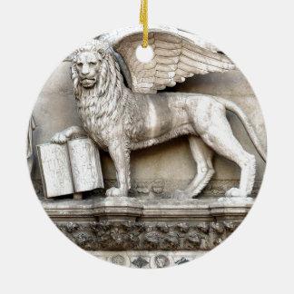 León veneciano adorno redondo de cerámica