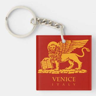 León veneciano llavero cuadrado acrílico a doble cara
