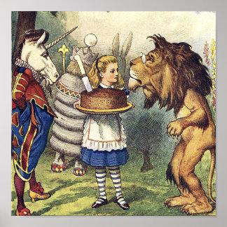 León y Alicia del unicornio en la impresión del pa Poster
