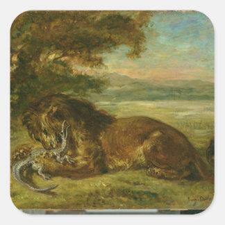 León y cocodrilo, 1863 pegatina cuadrada