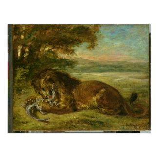 León y cocodrilo, 1863 postales