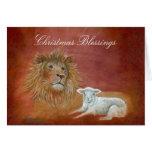 León y cordero, bendiciones del navidad felicitaciones
