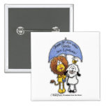 León y cordero debajo del paraguas pin