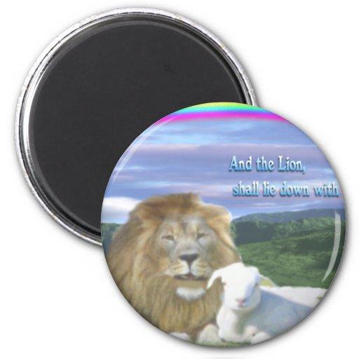león y el cordero imán redondo 5 cm