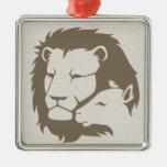 León y el cordero ornamento para arbol de navidad