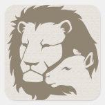 León y el cordero calcomania cuadrada personalizada