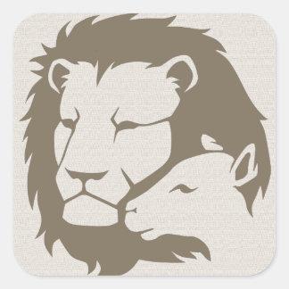 León y el cordero calcomanía cuadrada personalizada