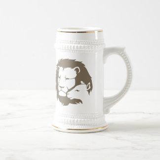 León y el cordero tazas de café