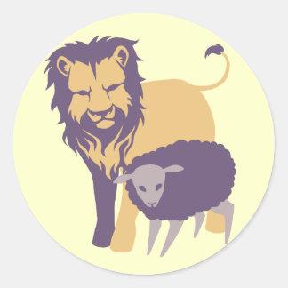 León y las ovejas pegatinas redondas