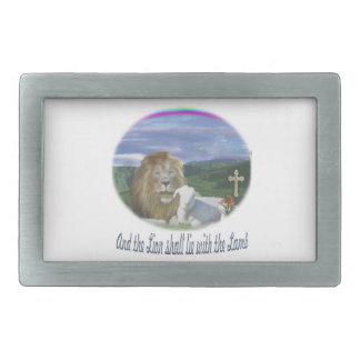 León y los regalos del cristiano del cordero hebilla cinturon rectangular