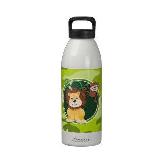 León y mono; camo verde claro, camuflaje botella de beber