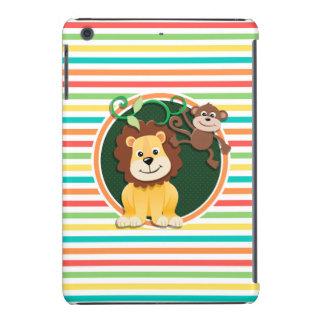León y mono; Rayas brillantes del arco iris Funda De iPad Mini