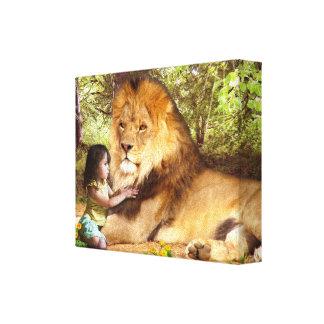 León y niña impresión en lona estirada