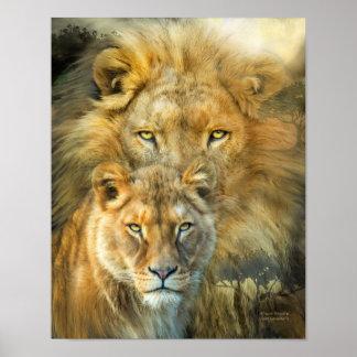 León y poster Leona-Africano del arte de los derec