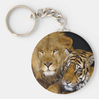 León y tigre llavero redondo tipo pin
