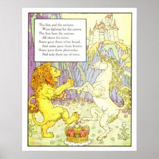 León y unicornio de la impresión del cuarto de niñ poster