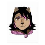 Leona el chica del leopardo ama rosa tarjeta postal