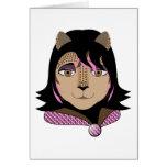 Leona el chica del leopardo ama rosa tarjetón