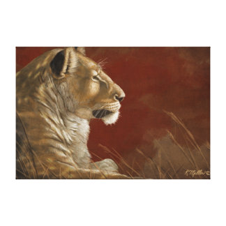 Leona en la pintura digital de la sombra impresión en tela
