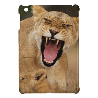 Leona (Panthera Leo) que gruñe con Cub
