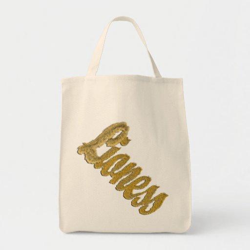 Leona - texto peludo bolsa tela para la compra