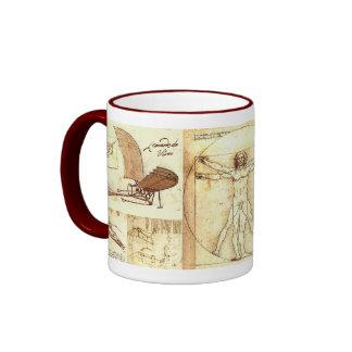 Leonado da Vinci Drawings Ringer Coffee Mug