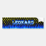 Leonard blue fire and flames bumper sticker design