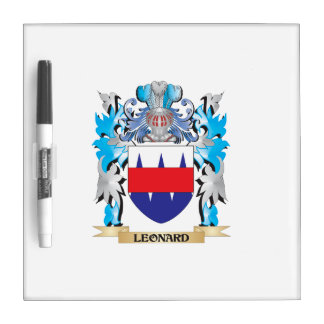 Leonard Coat of Arms - Family Crest Dry Erase White Board