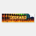 Leonard real fire and flames bumper sticker design car bumper sticker
