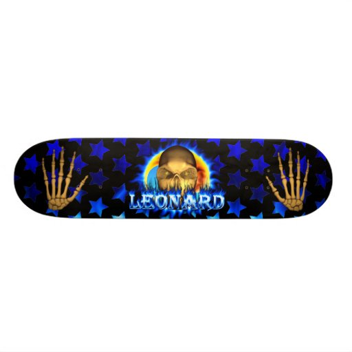 Leonard skull blue fire Skatersollie skateboard