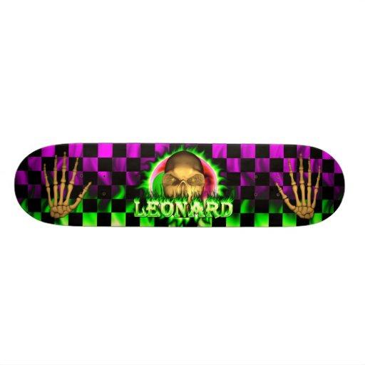 Leonard skull green fire Skatersollie skateboard