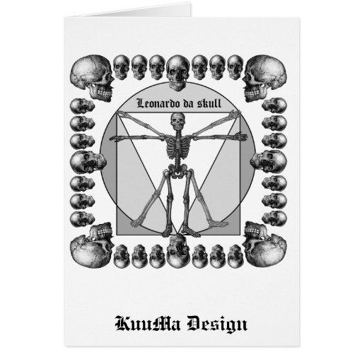 Leonardo da skull 3 greeting card