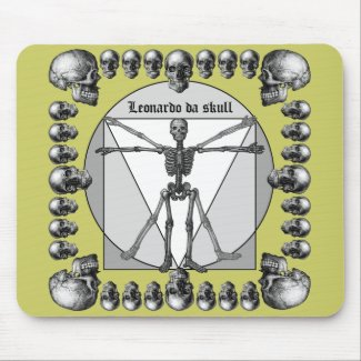 Leonardo da skull 3 mousepad