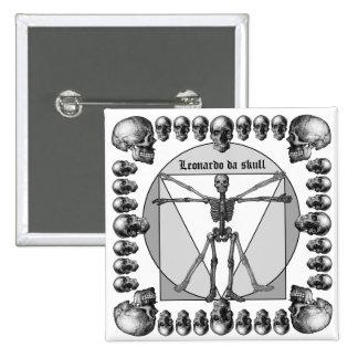 Leonardo da skull 3 pinback button