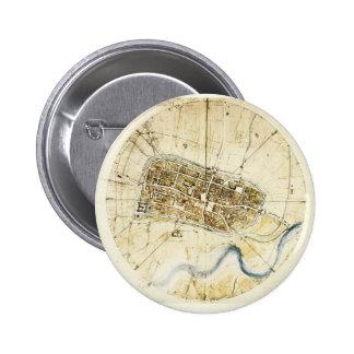 Leonardo da Vinci- A plan of Imola Pinback Buttons