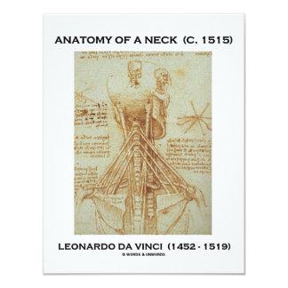 Leonardo da Vinci Anatomy Of A Neck (Drawing) 4.25x5.5 Paper Invitation Card