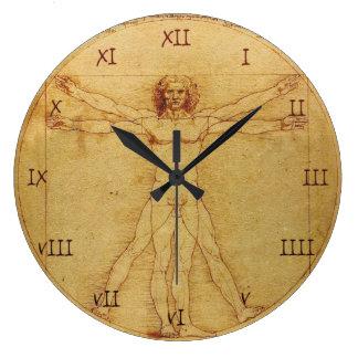 Leonardo Da Vinci Anatomy Study of human body Large Clock